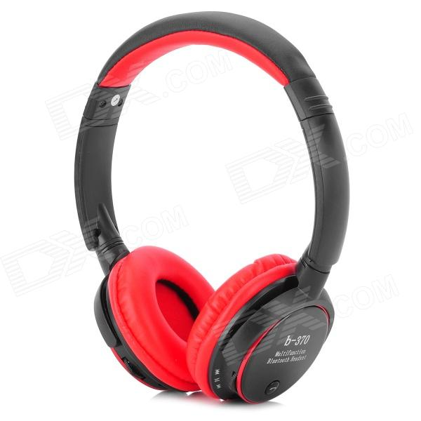 Bluetooth V3.0 Headband Earphone w/ Microphone / TF / FM for Iphone - Black + Red