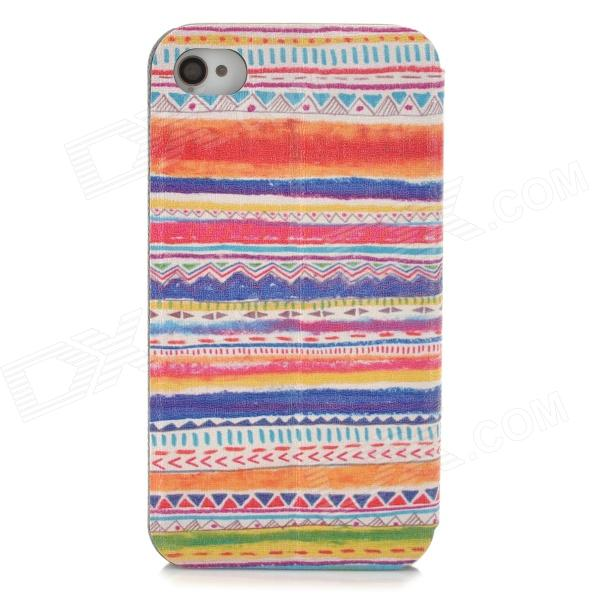 Tribal Ethnic Style Protective PU Leather Case for IPHONE 4 / 4s - Orange + White + Multicolor tribal ethnic style protective pu leather plastic case for iphone 5 deep pink black white