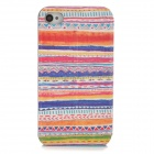 Tribal Ethnic Style Protective PU Leather Case for IPHONE 4 / 4s - Orange + White + Multicolor