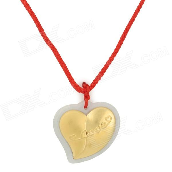 Love Heart Shaped ''LOVE'' Pattern A Class Jade + Gold Necklace - White + Golden + Multi-Colored