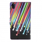 Meteor Shower Pattern PU Leather Case w/ Stand for Sony L39h / Xperia Z1 + More - Multicolored