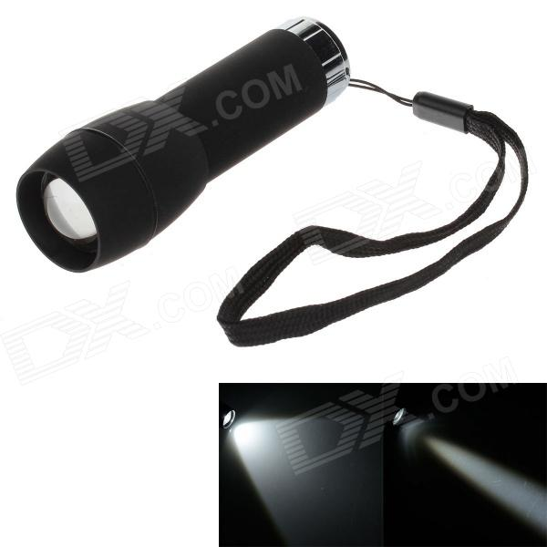 80lm 6000K White Light Zooming Mini Flashlight - Black + Silver (3 x AAA)