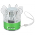 YBH-S03 Portable Mini Crystal Colorful Light Speaker w/ TF Slot - Green + Transparent