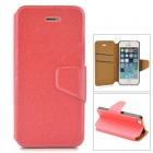 Silk Style Protective PU Leather Case for IPHONE 5 / 5s - Deep Pink