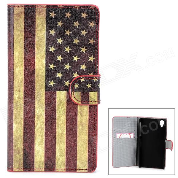 US Flag Pattern Protective PU Flip-Open Case w/ Stand for Sony L39h / Xperia Z1 /  i1 - Multicolored protective flip open pu case w stand card slots for samsung galaxy s4 active i9295 black