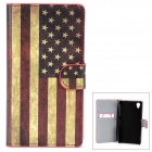 US Flag Pattern Protective PU Flip-Open Case w/ Stand for Sony L39h / Xperia Z1 /  i1 - Multicolored