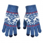 Three-Finger Touch Screen Woolen Gloves - Blue Grey (Pair)
