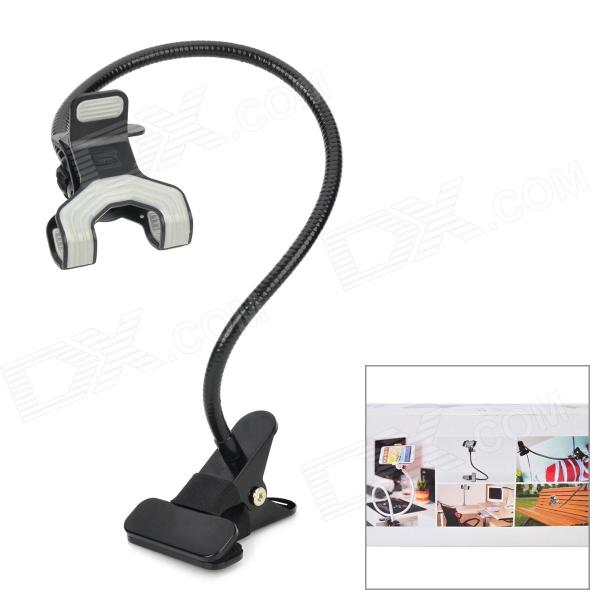 Iron + ABS Desktop 360 Degree Rotary Dual-Clip Holder for Cellphones - Black цена и фото