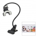 Iron + ABS Desktop 360 Degree Rotary Dual-Clip Holder for Cellphones - Black