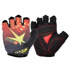 QEPAE F042 Outdoor Cycling Anti-Slip Half Finger Protection Glove - Black + Yellow (Size XL)