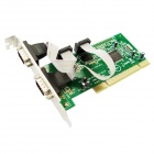IOCREST Moschip 9865 Chipset 2-DB-9 Serial (RS-232 COM) Ports PCI Controller Card - Green