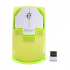 RF-6290 2.4GHz 3200DPI niedlichen Mini Wireless Optical Mouse - Weiß + Transparent Green (1 x AAA)