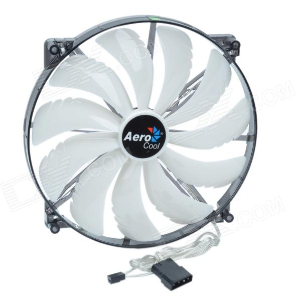 AEROCOOL 11-Blade 3W Mute White 4-LED Computer CPU Cooling Fan - White (12V / 20 x 20cm) aerocool 15 blade 1 56w mute model computer cpu cooling fan white 7v 14 x 14cm