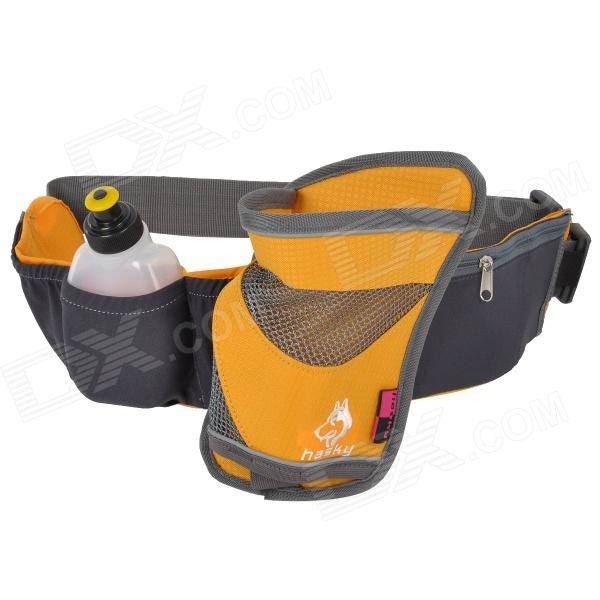Hasky CY-2326 Camping Hiking Waist Bag w/ Water Bottle - Yellow + Grey