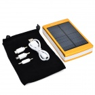 "Portable Dual-USB Solar ""30000mAh"" Power Bank w/ LED Flashlight - Golden + White"