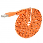 USB to Micro USB Data Charging Nylon Cable for Samsung - Orange