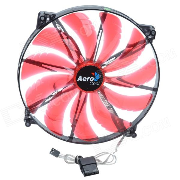 AEROCOOL 11-Blade 3W Mute 200mm 4-Red LED Computer CPU Cooling Fan - Red (12V / 20 x 20cm) aerocool 15 blade 1 56w mute model computer cpu cooling fan white 7v 14 x 14cm