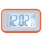 "830 4.5"" LCD Plastic Desktop Alarm Clock - Orange + White"