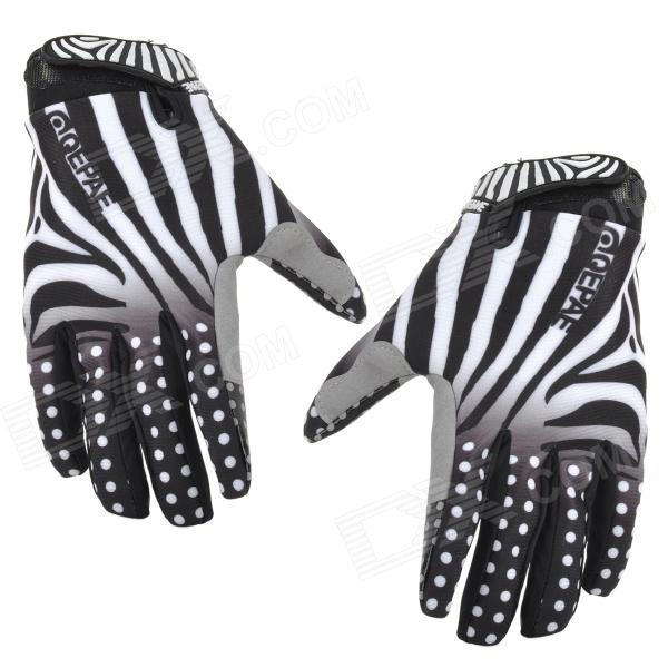 QEPAE 7511 Sports Cycling Anti-Slip Breathable Full-Finger Gloves - White + Black (L) mini usb light 3 led white light small lamp night light mobile power usb light
