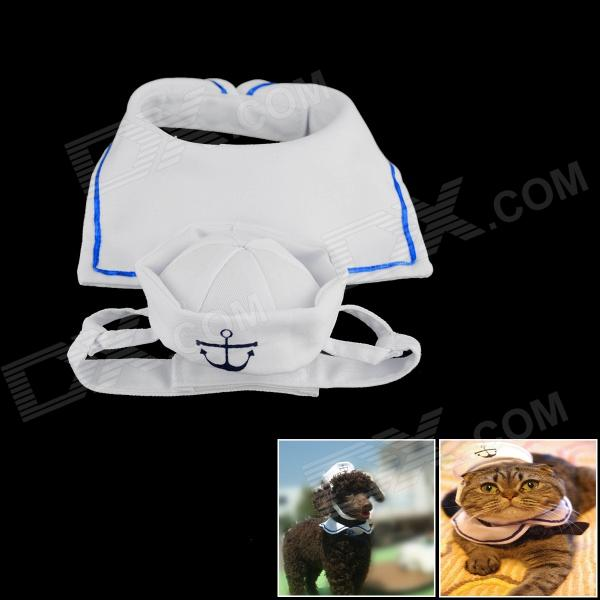 Pet Collar Section Hat for Cat / Dog - White