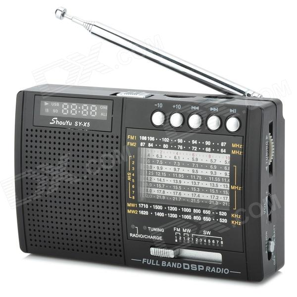 Shouyu SY-X5 Full-wave Band 1.5'' LCD Stereo FM / MW / SW Radio w/ Stand / TF Card Slot stereo 1 5 lcd 2 mode switching radio fm transmitter w microphone silver