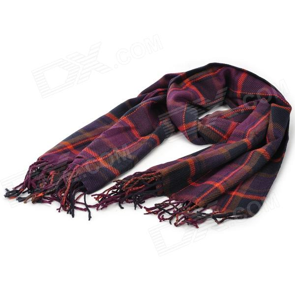 Elegant Women's Plaid Pattern Cotton Tassels Scarf - Multicolored