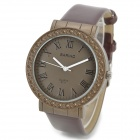 BARIHO E711 Roman Retro Style Zinc Alloy Casing Leather Wristband Quartz Watch - Brown (1 x 626)