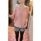 Fashion Woolen Yarn Single Shoulder Strap Sweater - Pink (Free Size)