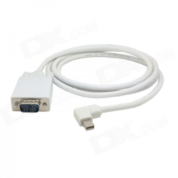 CY Left Angled 90' Mini DisplayPort DP Male to VGA RGB Male Cable for Monitor / Projector - White