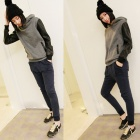 Casual Women's Sweater w/ Hat - Black + Grey (Free Size)