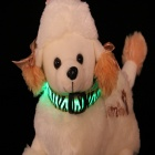 Leopard Grain Adjustable Reflective Light LED Strip Pet Safety Collar - Green + Black (Size-M)