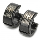 SHIYING G4BE3B6BBC11F6 Cross Bible Pattern Men's 316L Stainless Steel Earrrings (Pair)