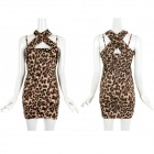 Fashion Women's Leopard Pattern Dress - Brown (Free Size)