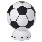 Mini Football Shape USB Rechargeable Music Speaker w/ Colorful Flashing Light LED - White + Black