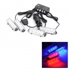 KINGLEASEN YL-126-4 LED Strip (X) 4 x 4 Rojo Azul Fast Strobe Car Set lámpara de advertencia (12V DC)