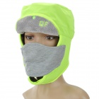 Water Resistant Lei Feng Style Warm Velveteen Hat w/ Mask - Grey + Fluorescent Green