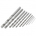 10 High Speed Steel Electric Hand Drill Bit - Silver Grey (10PCS)