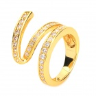 R97545G Fashion Copper + K-Gold + Zircon Ring - Golden