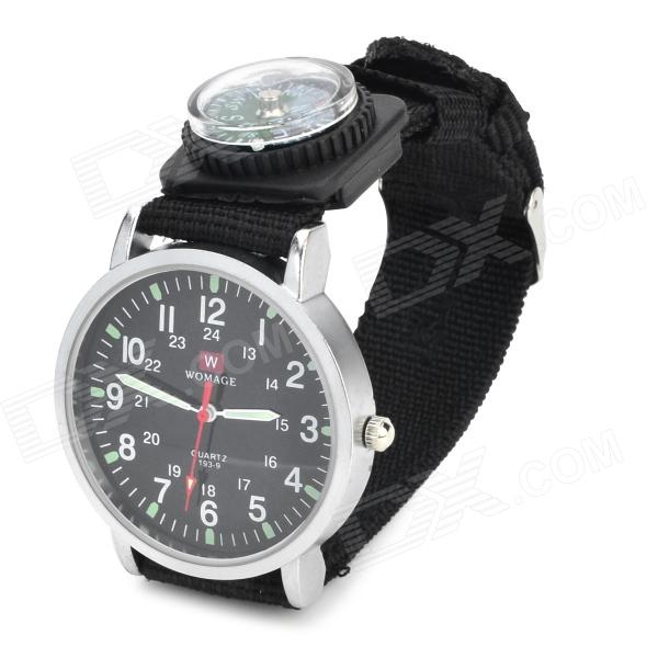 Casual Pilot Wrist Watch w/ Compass - Black (1 x LR66 Included)
