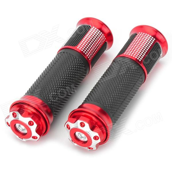 22mm Aluminum Alloy Rubber Handlebar Grip Cover for Harley Motorcycle - Red + Black