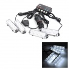 KINGLEASEN YL-12-4(X) 4 x 4 LED Strip Cool White Fast Strobe Car Warning Lamp Set (DC 12V)