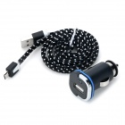 2-in-1 5V 1000mA USB Car Cigarette Lighter Charger w/ Micro USB Cable - Black + White (12~24V)