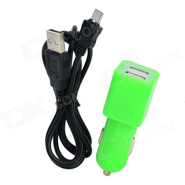 Dual-USB Car Charger Adapter w/ Micro USB Data Charging Cable for Samsung - Green + Black car charger weave micro usb cable for samsung galaxy s4 note 2 s3 deep blue dc 12 24v
