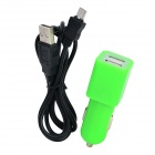 Dual-USB Car Charger Adapter w/ Micro USB Data Charging Cable for Samsung - Green + Black