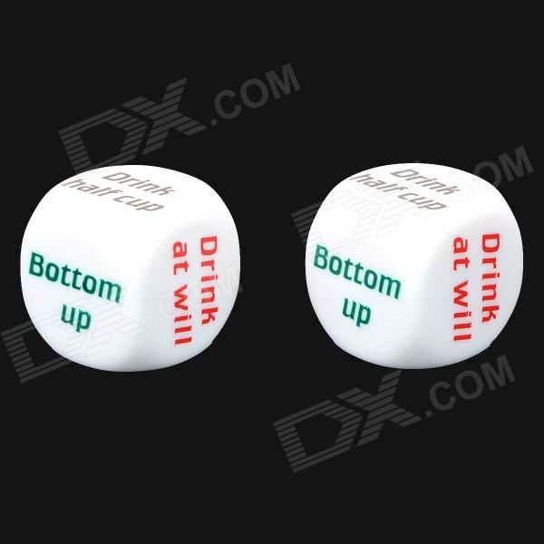 Creative Plastic Drinking Game Dice - White + Multicolored (2 PCS) lucky shot drinking roulette game 6 cup set