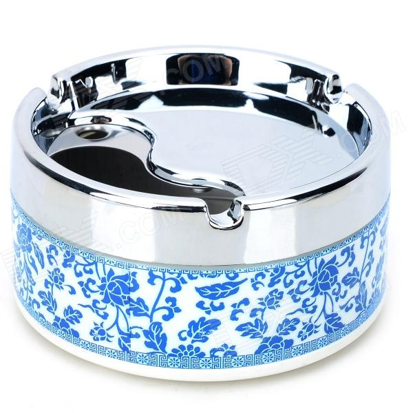 H2WY Blue + White Porcelain Style Stainless Steel + Plastic Ashtray - Blue + Silver + Multicolored