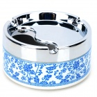Blue + White Porcelain Style Stainless Steel + Plastic Ashtray - Blue + Silver + Multicolored