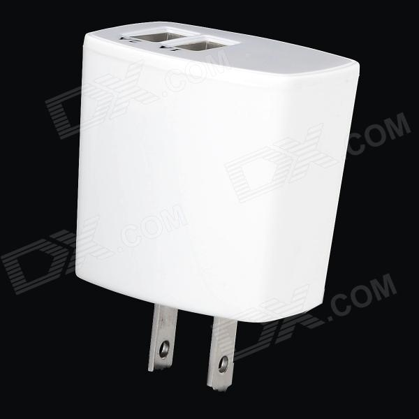 ZBC10B 10W Dual USB Port US Plugs AC Charger for Cellphone / Tablets - White (100~240V)