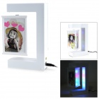 Stylish Triangle Shaped Magnetic Levitation Revolving LED Photo Frame - White
