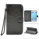 Protective PU Leather Case w/ Card Holder Slots for Samsung Galaxy S4 i9500 - Black